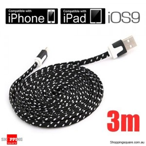 3m Black Nylon Braided Lightning-Compatible USB Data Charging Cable for iPhone 5 6S plus iPod Touch Nano 7 iPad Air Mini