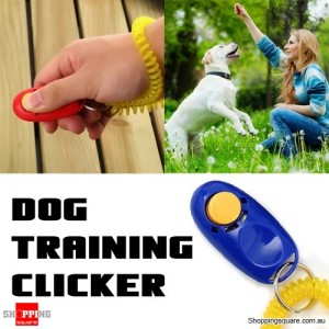 Dog Pet Obedience Training Clicker Button With Wrist Coil - Blue Colour