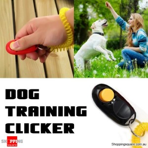 Dog Pet Obedience Training Clicker Button With Wrist Coil - Black Colour