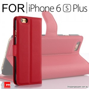 Leather Wallet Flip Case Cover For iPhone 6 Plus / 6s Plus Red Colour