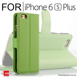 Leather Wallet Flip Case Cover For iPhone 6 Plus / 6s Plus Green Colour