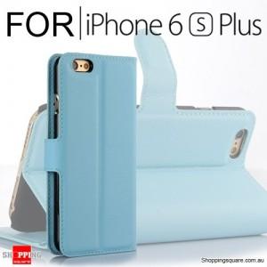 Leather Wallet Flip Case Cover For iPhone 6 Plus / 6s Plus Blue Colour