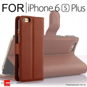Leather Wallet Flip Case Cover For iPhone 6 Plus 6s Plus Brown Colour
