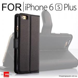 Leather Wallet Flip Case Cover For iPhone 6 Plus /  6s Plus Black Colour