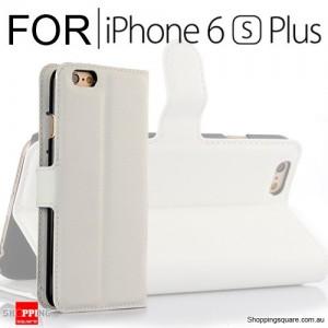 Leather Wallet Flip Case Cover For iPhone 6 Plus 6s Plus White Colour