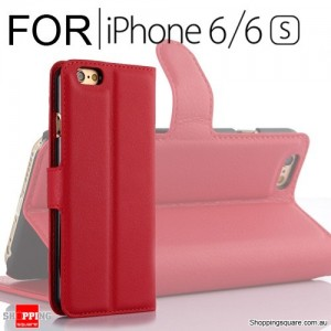 Leather Wallet Flip Case Cover For iPhone 6 / 6s Red Colour