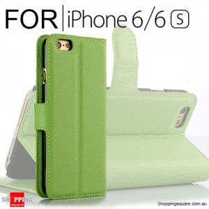 Leather Wallet Flip Case Cover For iPhone 6 / 6s Green Colour