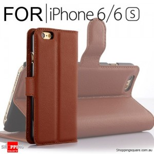 Leather Wallet Flip Case Cover For iPhone 6 / 6s Brown Colour