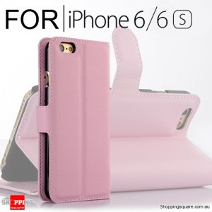 Leather Wallet Flip Case Cover For iPhone 6 / 6s Pink Colour