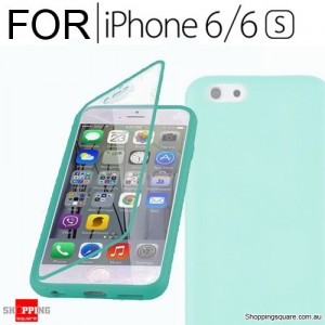 Crystal Clear Silicone TPU Gel Flip Cover Case For iPhone 6 / 6S Green Colour