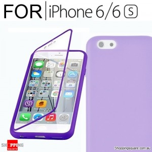 Crystal Clear Silicone TPU Gel Flip Cover Case For iPhone 6 / 6S Purple Colour