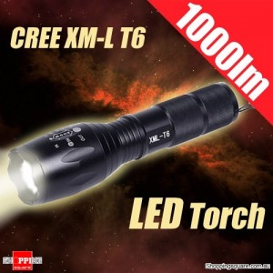 1000 lm Zoomable XM-L T6 LED Light Flashlight Torch for Hiking Hunting