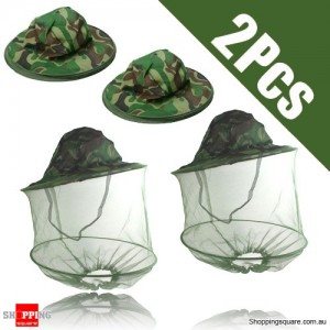 2 pcs Camouflage Anti-Mosquito Bee Insect Polyester Hat with Mask for Face Protection
