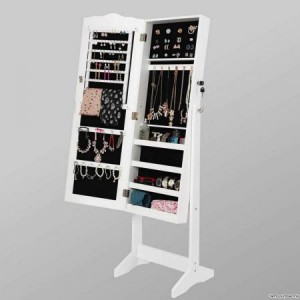 Mirror Jewellery Cabinet Storage Organiser - White