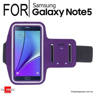 Purple Running Sport Gym Armband Case for Samsung Galaxy Note 5