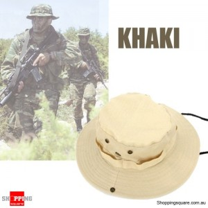 Men's Army Bucket Hat for Hunting/Fishing/Camping with Strings Khaki Colour
