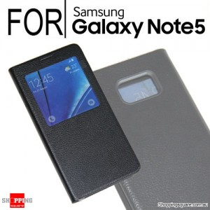 Flip Leather Cover Case for Samsung Galaxy Note 5 Black Colour