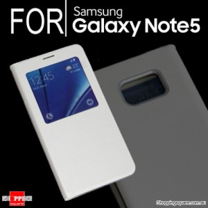 Flip Leather Cover Case for Samsung Galaxy Note 5 White Colour
