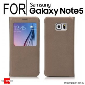 Flip Leather Cover Case for Samsung Galaxy Note 5 Gold Colour