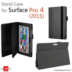New Flip Leather Case Cover for Microsoft Surface Pro 4 Black Colour