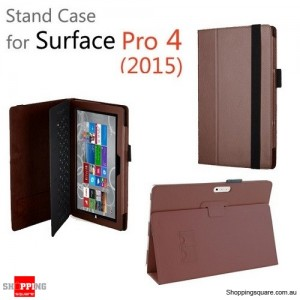New Flip Leather Case Cover for Microsoft Surface Pro 4 Coffee Colour
