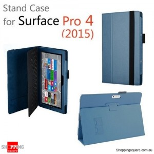 New Flip Leather Case Cover for Microsoft Surface Pro 4 Blue Colour