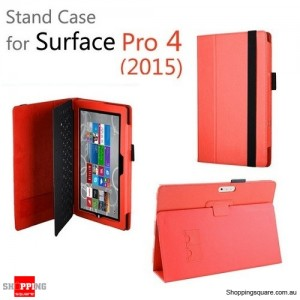 New Flip Leather Case Cover for Microsoft Surface Pro 4 Red Colour