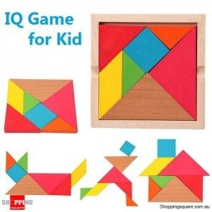 Wooden IQ Game Jigsaw Intelligent Tangram Brain Teaser Puzzle Toy for Kid