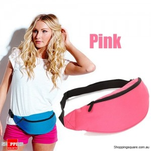 Unisex Bum Bag for Running Hiking Sports with Waist Belt Pink Colour
