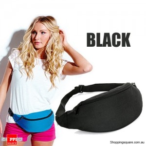 Unisex Bum Bag for Running Hiking Sports with Waist Belt Black Colour