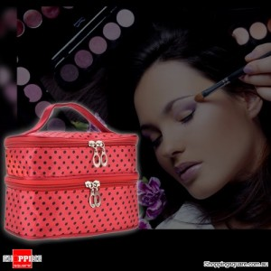 Women's Cosmetics Makeup Case/Handbag for Travelling Red Colour