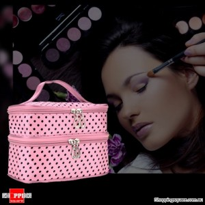 Women's Cosmetics Makeup Case/Handbag for Travelling Pink Colour