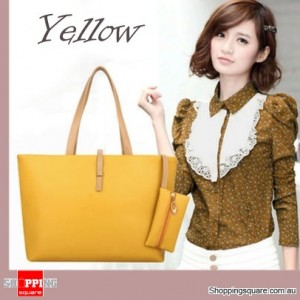Women's Leather Style Large Tote Shoulder Bag/Handbag Yellow Colour