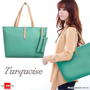 Women's Leather Style Large Tote Shoulder Bag/Handbag Turquoise Colour