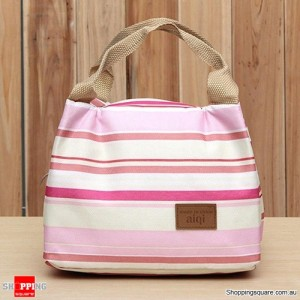 Insulated Tinfoil Waterproof Lunch Tote Bag for Picnic / Camping Pink and White Stripes