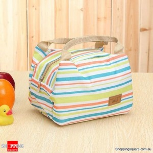 Insulated Tinfoil Waterproof Lunch Tote Bag for Picnic / Camping Green and Orange Stripes