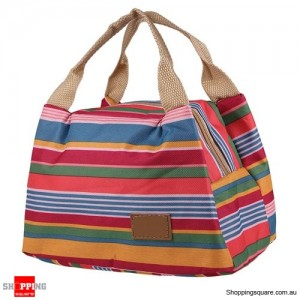 Insulated Tinfoil Waterproof Lunch Tote Bag for Picnic / Camping Blue and Red Stripes