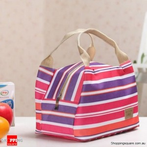 Insulated Tinfoil Waterproof Lunch Tote Bag for Picnic / Camping Purple and Red Stripes