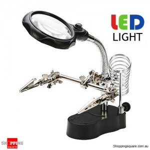 Soldering Holder Stand For Reading Welding With Magnifier & LED Tool Kit