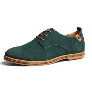 Mens Casual Fashion Business Gray Tide Leather Shoes Green Colour Size US 8.5