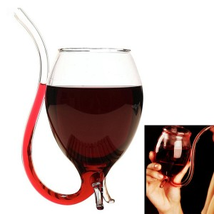 Novelty Vampire Wine Glass Cup with Drinking Tube Straw