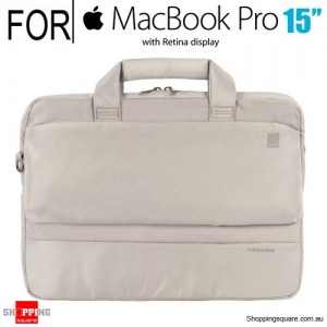 Tucano Dritta Slim bag for 15 Inch Macbook Pro with Retina Display or 13/14 Inch Notebook Silver Colour