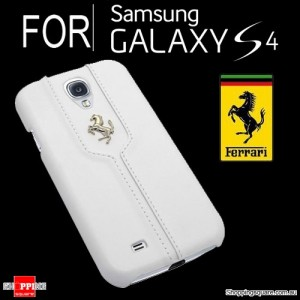 Ferrari Monte Carlo Leather Book Cover Case White Colour for Samsung Galaxy S4