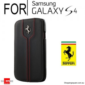 Ferrari Leather Booktype Hard Case Black Colour for Samsung Galaxy S4