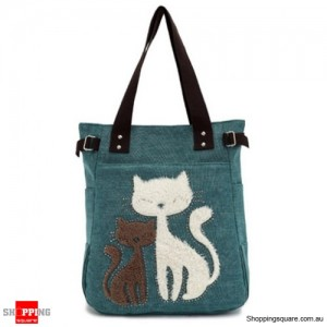 Women's Cute Canvas Handbag Shoulder Bag Tote with Two Cats Green Colour