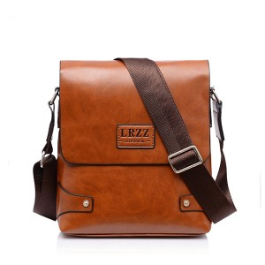 Men PU Business Shoulder Casual Briefcase Crossbody bag Brown & Yellow Colour