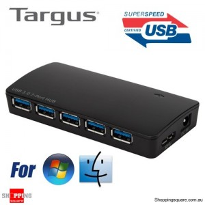 Targus USB 3.0 7-Port Hub with fast Charging