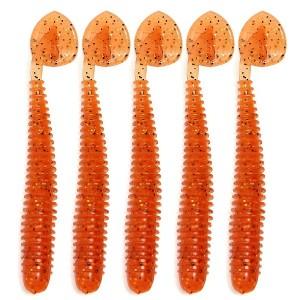 5X 50mm Soft Lure Bait Fishing Bass Perch Pike Drop Shot Worm Tackle Orange Colour