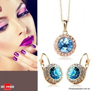 Blue Rhinestone Crystal Angelic Pendant & Earring Set