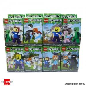 8pcs My World Minecraft Steve Building Blocks Bricks Minifigures Toy